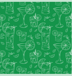 seamless pattern with cocktails color outline on vector image