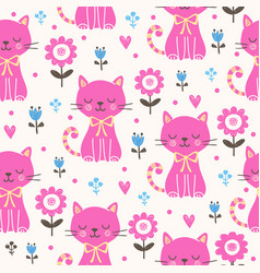 Seamless with pink cats vector