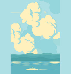 seascape with sea mountains and cloudy sky vector image