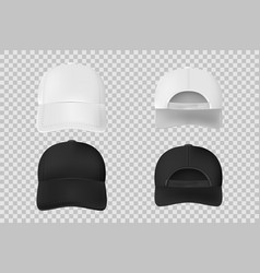set baseball cap black and white mockup vector image
