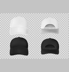 Set baseball cap black and white mockup vector
