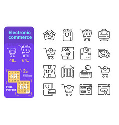 Set electronic commerce simple lines icons shop vector