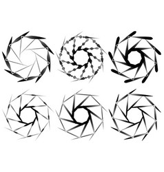 Set of 6 circular geometric element abstract vector