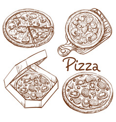 Set of whole pizza and slice vector