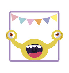 Square frame monster with bulging eyes and vector