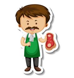 Sticker template with a meat seller man cartoon vector