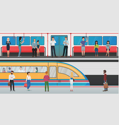 subway inside with people and metro platform with vector image