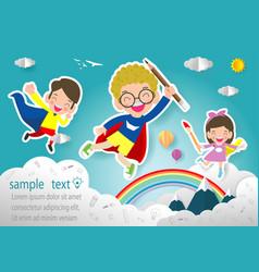 superhero kid isolated on background vector image