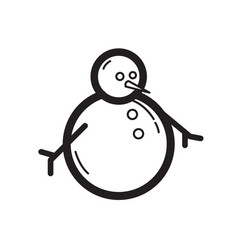 thin line snowman icon vector image vector image