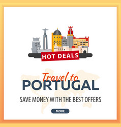 travel to portugal travel template banners for vector image