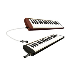 Two musical melodica isolated on white background vector
