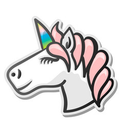 Unicorn emoji sticker vector