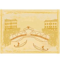 Venetian gondola retro style card vector