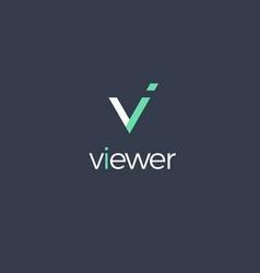 Viewer monogram icon flat cartoon style vector