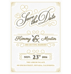 Vintage save the date card letterpress style vector