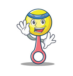 Waving rattle toy character cartoon vector