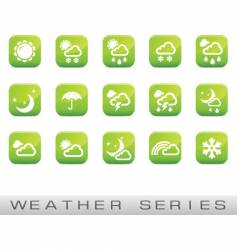 weather icons green glossy vector image