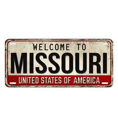 welcome to missouri vintage rusty metal plate vector image