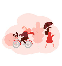 Woman walks girl rides bicycle in autumn park vector