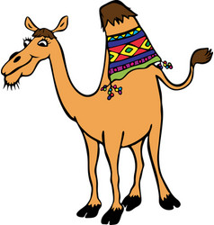 Yellow funny camel with one hump vector