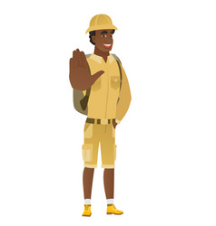 african-american traveler showing palm hand vector image vector image