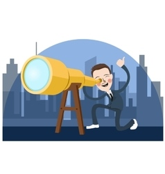 business man looking into telescope search vector image vector image