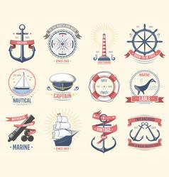 fashion nautical logo sailing themed label or icon vector image vector image
