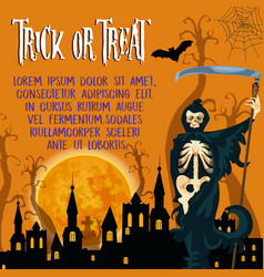 halloween holiday trick or treat poster vector image