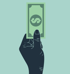 hand giving money vector image vector image