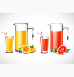 jugs with citrus juice vector image vector image