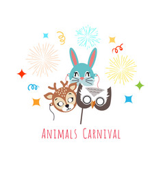 masks for animal carnival deer rabbit owl vector image