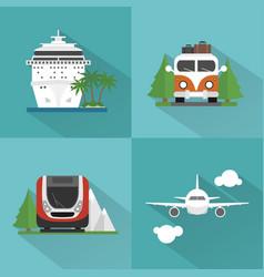 travel transport set modern concept design flat vector image vector image