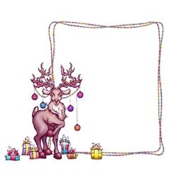Christmas deer in cartoon style vector image