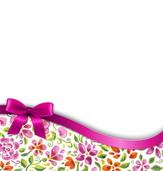 Flowers Card With Pink Ribbon vector image vector image