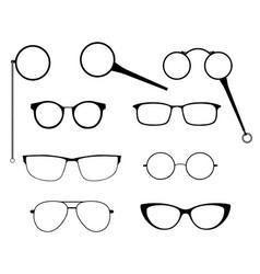 glasses silhouette set frames to modern vector image vector image