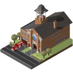isometric firehouse and firetruck vector image vector image