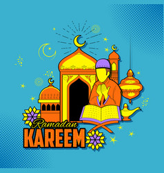 people wishing ramadan kareem generous ramadan for vector image vector image