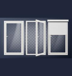 plastic door pvc plastic profile white vector image vector image