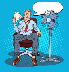 pop art sweating businessman due to hot climate vector image
