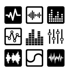 Soundwave Music Icons Set on White Background vector image vector image