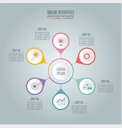 timeline business concept with 6 options vector image vector image
