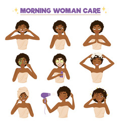 afro american woman morning routine icon set vector image vector image