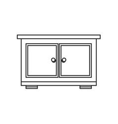 bedside table wood furniture outline vector image