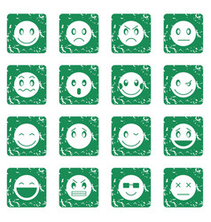 emoticon icons set grunge vector image vector image