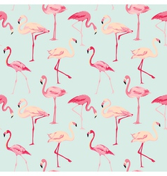 Flamingo Bird Background - Retro seamless pattern vector image