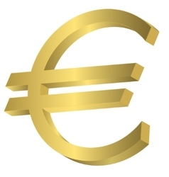 Golden Euro sign vector image