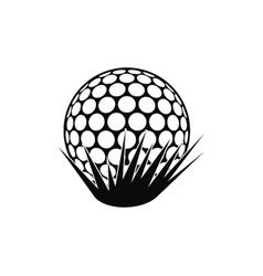 Golf ball on grass icon vector image vector image