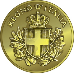 money gold italian coin twenty Centesimo vector image vector image