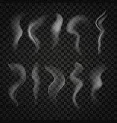 Trickles of smoke set isolated on transparent vector