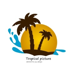 Flat picture palm on island sunset landscape vector image